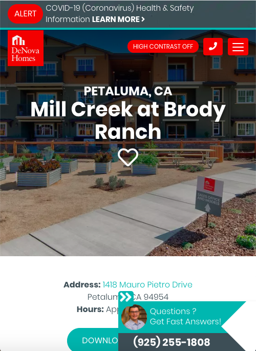 Good Mobile Landing Page for Home Builder