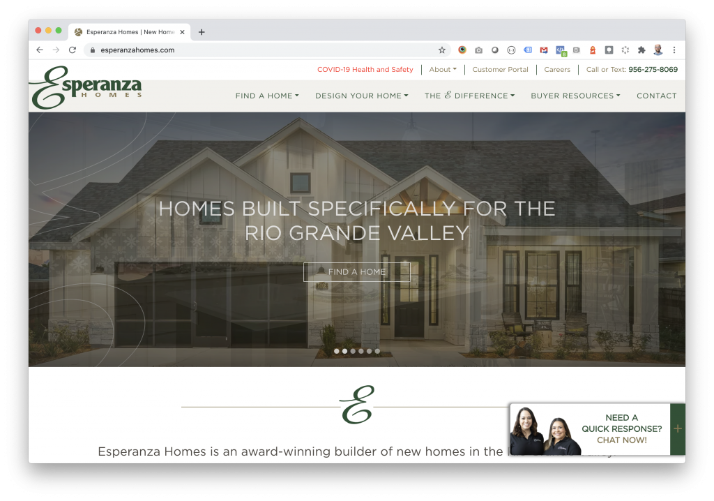 Esperanza Homes - Award Winning Home Builder Website